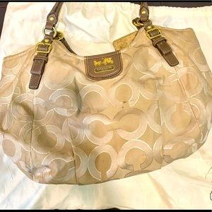 Authentic coach hobo bag in fabric and real leather in cream, tan and metallic.